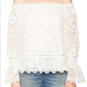 Willow & Clay Off The Shoulder Ivory Lace Top